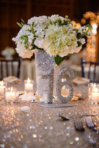 silver wedding decor ideas sparkle tablecloth vase and tablerunner carterelite