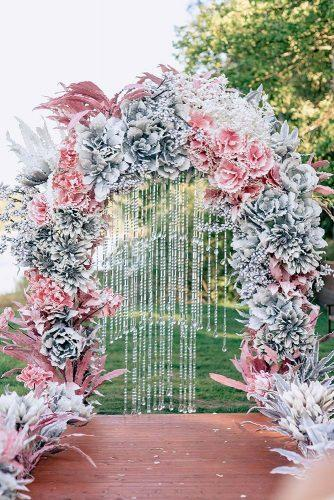 silver wedding decor ideas arch with pink flowers and crystals pinewood weddings