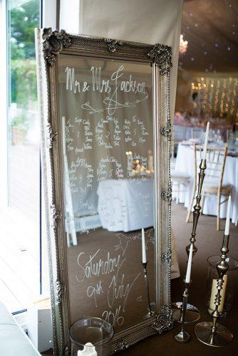 silver wedding decor ideas mirror in frame with white signs joe hastings photography