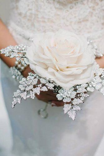 silver wedding decor ideas for single bloom white rose bouquet and rhinestones frankreaeventdesigns