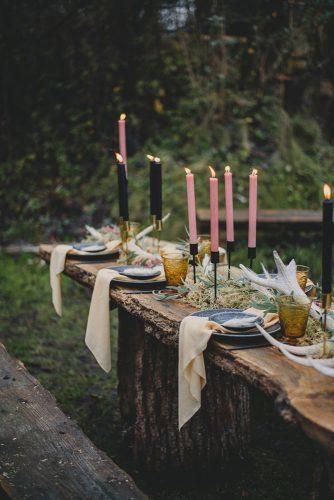 summer wedding trends outdoor natural woodland table with candles georgia rachael photography