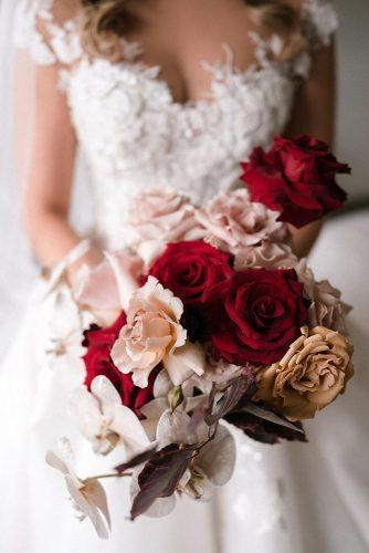 summer wedding trends bridal bouquet with red anf mustard roses and orchids siempreweddings