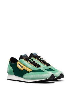Seasonal Perspectives:  Prada Milano 70 Suede And Mesh Sneakers