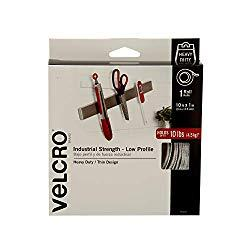 Image: VELCRO Brand Industrial Strength - Low Profile | Superior Strength, 30% less Thickness than our Regular Industrial Strength Products | Size 10ft x 1in | Tape, White