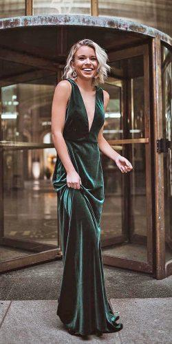 wedding dress code long deep v neckline green candidlychan