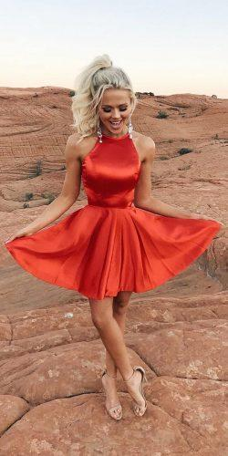 wedding dress code short red halter neckline for summer coctails sherrihill