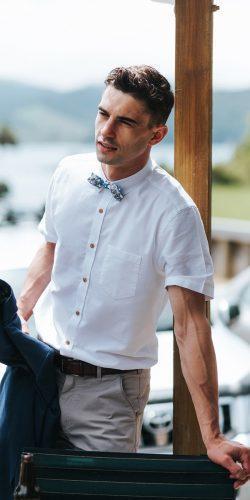 wedding dress code beach shirt with cap sleeves bow tie