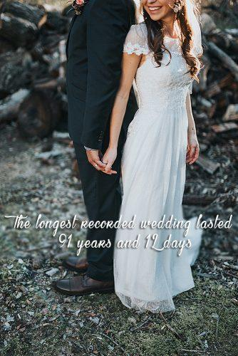 fun wedding facts newlyweds holding hands