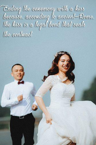fun wedding facts happy newlyweds running together