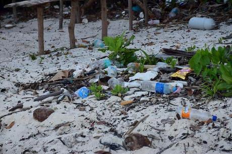 Plastic bottles lying on a beach