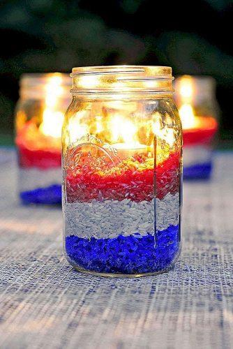 independence day wedding 4th of july candlesticks in jars with black red white colored with rice shewearsmanyhats