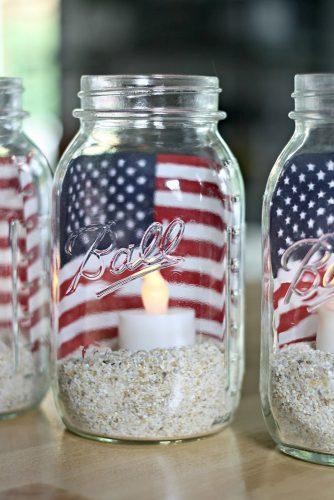 independence day wedding mason jars american flag and candle thriftydecorchick
