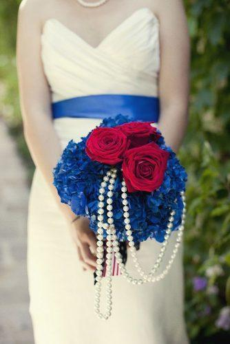 independence day wedding bright bouquet with red roses white pearls blue flowers 4th of july focus photography inc