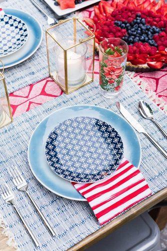 independence day wedding 4th of july original blue white and red patterns on outdoor table alice g patterson