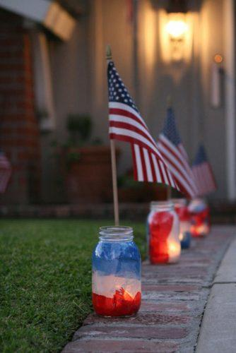 independence day wedding 4th of july diy candlesticks mason jars blu red and white with american flag fourflightsoffancy