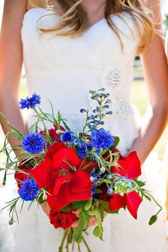 independence day wedding bouquet with bright red and blue flowers la vida creations photography