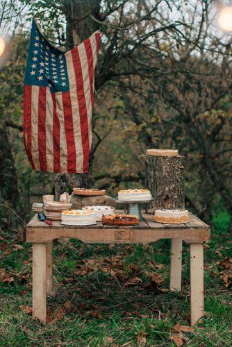 independence day wedding outdoor rustic reception dessert table american flag decor love is a big deal