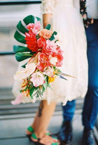 tropical wedding bouquets small cascade bouquet My Sun and Stars Co