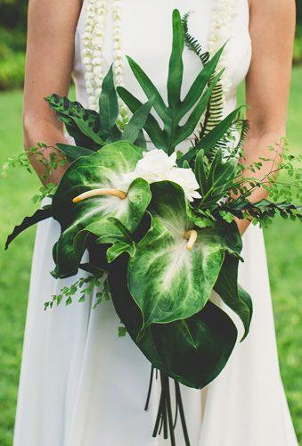 tropical wedding bouquets elegant green bouquet mauimakaphotography