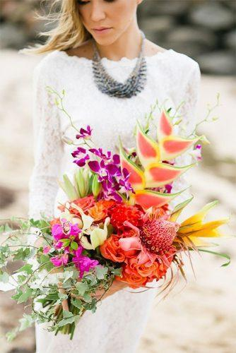tropical wedding bouquets elegant color bouquet Vanessa Velez Photography