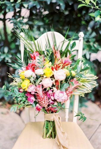 tropical wedding bouquets color bouquet Angelica Chang Photography