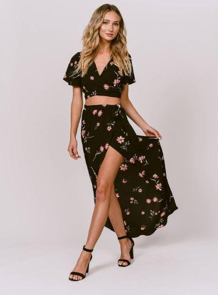 Black floral co-ord set with a crop top and skirt. tobi.com spring collection - Shopping, Style and Us