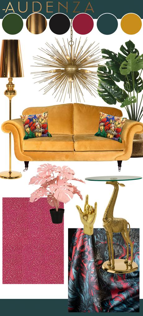 Maximalist living room inspiration in a hot pink, teal and mustard color palette. With Serpentine paint by Zoffany, Cheetah fabric by Osborne & Little, and Faunacation fabric by Divine Savages, furniture and accessories by Audenza.