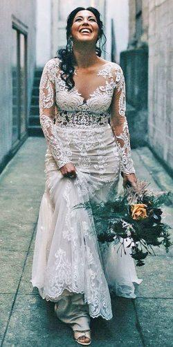 72a13fcc159 plus size wedding dresses with sleeves sheath full lace illusion neckline  justin alexander
