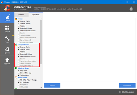 clear chrome cache using ccleaner