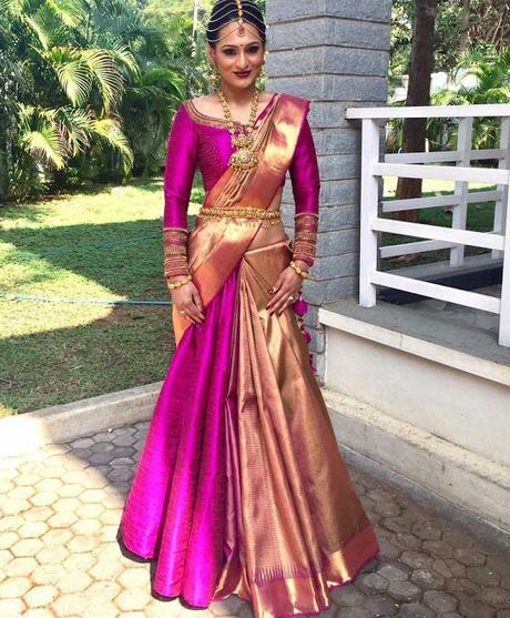 Pink Ornamental Blouse with Pink Silk Saree