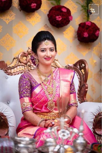 Pink Silk Saree and Purple Blouse