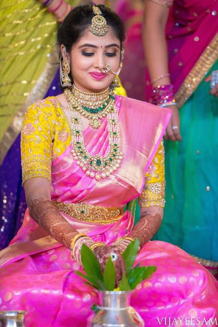 Pink Wedding Saree and yellow Blouse