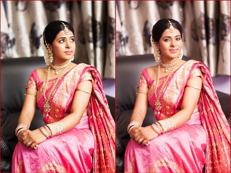 Pink Saree and Golden Blouse Design
