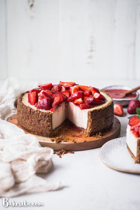 In this Baked Vegan Cheesecake, a gluten-free and paleo graham cracker-style crust encases a sweet and creamy vanilla cheesecake filling. Coconut yogurt and cashews create the perfect texture to mimic a classic cheesecake.