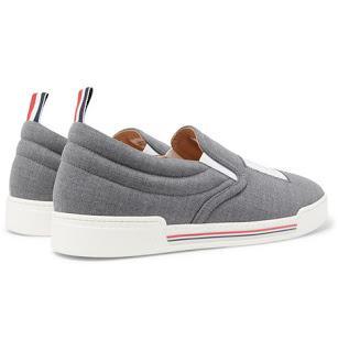 Slippin' Sartorial:  Thom Browne Logo-Appliquéd Wool Slip-On Sneakers
