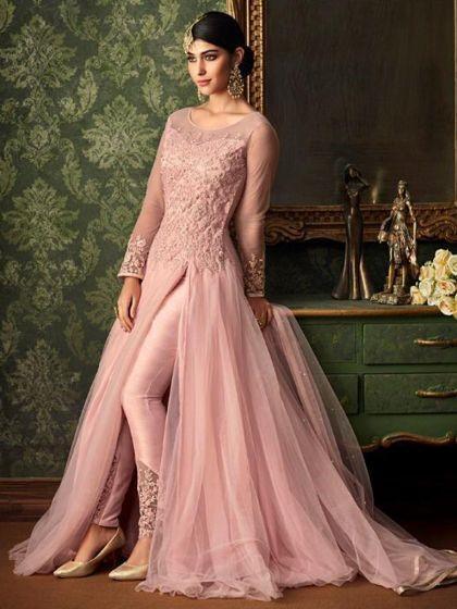 Pink Front-Slit Lawn Kameez