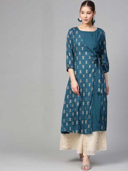 /teal-blue-rayon-casual-printed-kurti