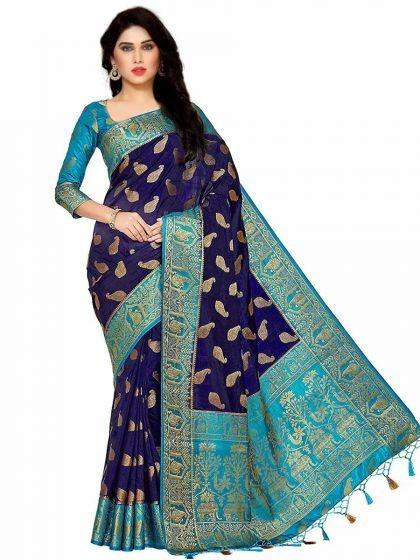 navy-blue-silk-kanjeevaram-party-saree
