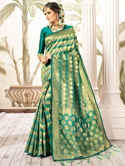 viridian-green-art-silk-kanjeevaram-festival-saree