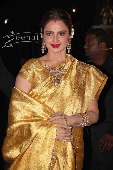 Bollywood actor Rekha in kanjeevaram silk saree