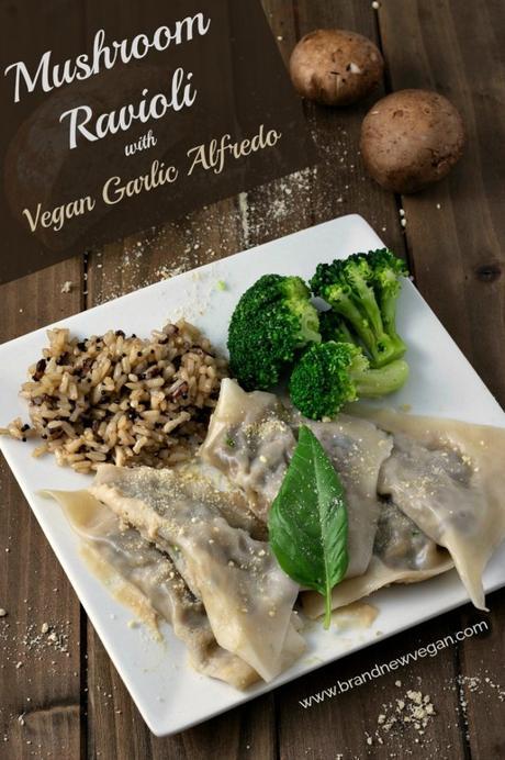 Mushroom Ravioli with Garlic Alfredo Sauce