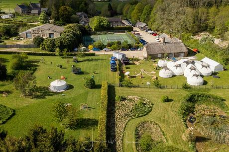 Greenwood Grange yurt Wedding Aerial view