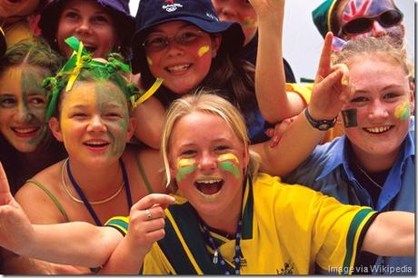 Australian (AUS) fans in green and gold cheering 2000 Sydney PG