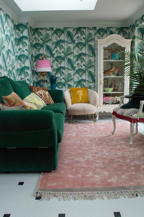Tropical living room inspiration with Cole and Son Palm Jungle wallpaper, Amtico floor and lots of quirky Audenza homewares