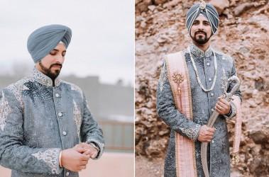 Offbeat Pastels turban to Match the Sherwani