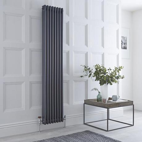 Milano Windsor vertical anthracite radiator.
