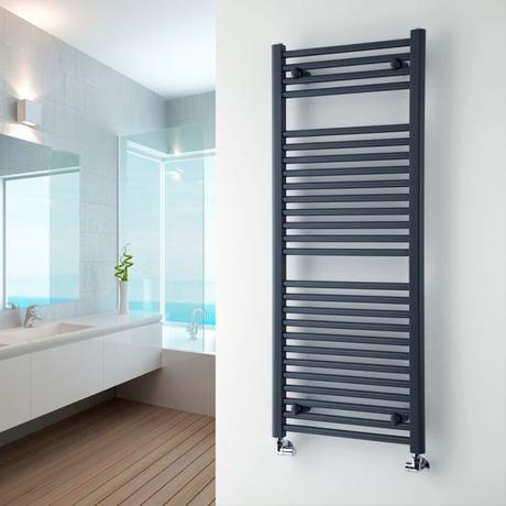 Milano Brook heated towel rail on a white wall.