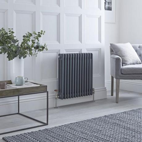 Milano Windsor classic column radiator in anthracite.