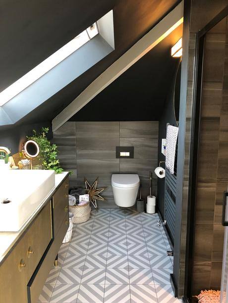 Modern gray en-suite.