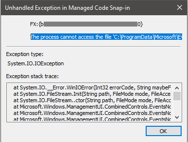 Unhandled Exception in Managed code Snap-in